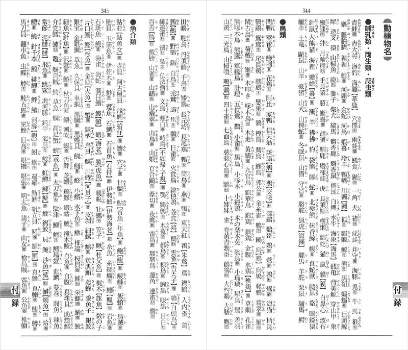 「動植物」「国・都市」などの漢字表記もすぐ引ける